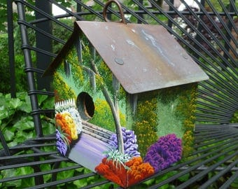 Polly's Perch Bird House. Copper Roof. Hand Painted Flowers Landscape. Handmade Vintage Birdhouse. Cottage Garden Decor. Made Charleston SC.