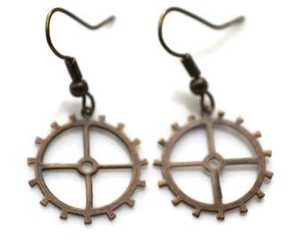 Antique Brass Gears . Earrings