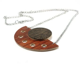 Statement necklace, Boho pendant necklace, Dark wood necklace, Handmade necklace for her, Gift for wife, Long wood necklace, Wood jewelry