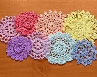 8 Pastel Colors, Small Hand Dyed Crochet Doilies, Colorful Lace Doilies for Crafts and Dream Catchers, 2.5 to 4 inch Doilies