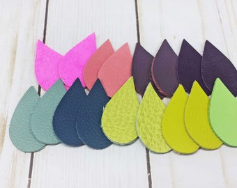 Colorful Teardrop Leather Shapes, Shaped Leather for Jewelry and Earrings, Set of 18 Teardrop Leather Cut Outs, Die Cut Leather