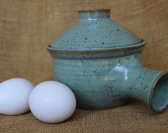 Microwave ceramic egg cooker, wheel thrown, pottery, stoneware
