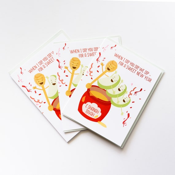 Apple Honey Dip Rosh Hashanah Jewish New Year Greeting Card