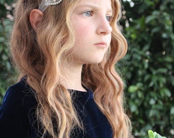 Rhinestone headband, flower girl headband, sparkle headband, rhinestone sash, made in the USA by Mia Loren Boutique