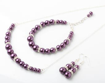 Plum Pearl jewelry set, Plum bridesmaid jewelry,  Plum necklace earrings, Plum wedding Jewelry, purple plum bridesmaid jewelry set, gift