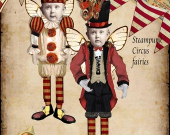 Steampunk Vintage Circus paper dolls articulated Circus fairies, scrapbook page, craft project, printable dolls