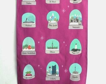 Tea Towel: Illustrated Tea towel Canadian cities