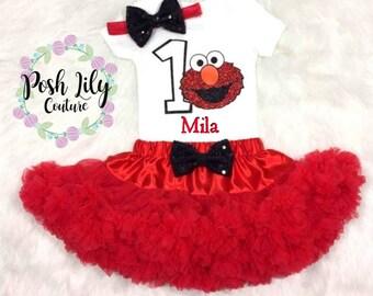 Elmo birthday tutu outfit, Elmo birthday party, Elmo bodysuit, Elmo birthday party tutu set, Elmo smash cake outfit