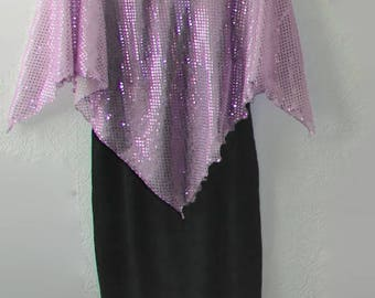 Ready to Ship LAVENDER Capelet Glitzy Evening Wrap Capelet Shrug Bling top Poncho new years sequins Christmas Top Plus size Retro party top