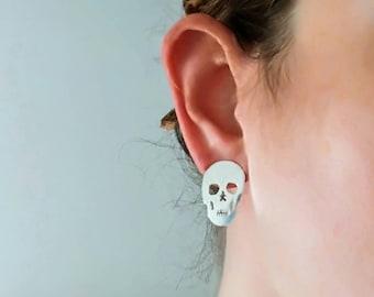 Skull stud earrings 925 silver