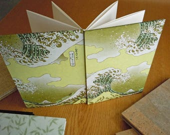 """Hokusai's """"The Wave"""" Yuzen print in Light Greens on a 6x8 Accordion Fold BFK Alternative Guest Book Photo Album Sketchbook with Deckle Edge"""