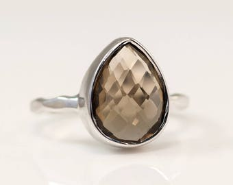 Smokey Quartz Ring Silver - Tear Drop Ring - Brown Stone Ring - Solitaire Ring - Stacking Ring - Silver Ring - Square Gem Ring - Stack Ring