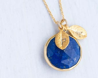 Lapis Necklace Gold, September Birthstone Necklace, Personalized Necklace, Gemstone Pendant Necklace, Custom Initials, Bridesmaid Gift Ideas
