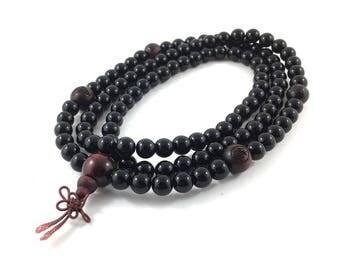 108 Mala Beads Necklace Obsidians, Tiger Eyes Prayer Meditation Beads, Women Mens Inspirational Jewelry, Wood Lotus Buddhist Beads Necklace