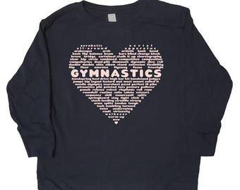Girls Gymnastics Shirt - Long Sleeved Shirt for Gymnasts - Love Gymnastics Youth Winter / Fall Shirt - Great Gift idea for Christmas