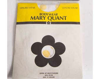 Mary Quant / Vintage mesh bodysuit leotard / 1980s sheer net high cut body stocking / Deadstock new in package XS