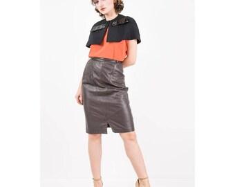 Vintage capelet / 1960s Black cotton linen short cape with vinyl bow / Tailored shrug / S M