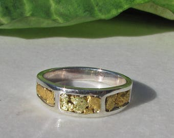 Gold Nugget Ring, Ladies Gold Nugget Band, Gold Nugget Wedding Bands, Ladies Gold Nugget Ring, Unique Wedding Bands, Custom Wedding Rings