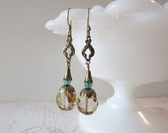 Art Nouveau Mythical Earrings in Green, Gold, Brass // Dangle Earrings