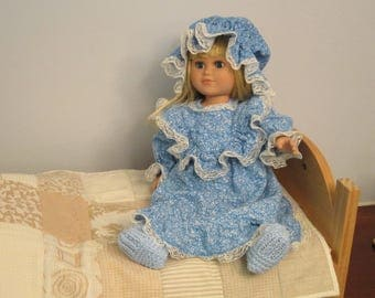 Blue Flannel Nightgown, Nightcap and Knitted Slippers fits 18 Inch Dolls like American Girl