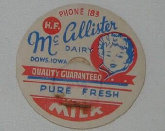 Milk Bottle Lids x 10, McCallister Dairy, Dows Iowa, Antique