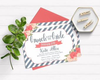 Brunch with the Bride Invite, Floral Bridal Shower Invite, Bridal Brunch Invitation, Brunch Invite, Kraft Paper Invitation