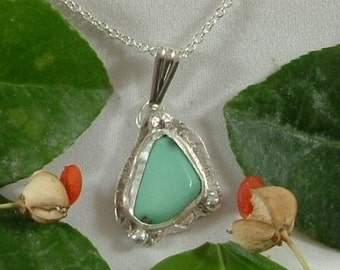 Variquoise Necklace Sterling Silver Handmade Utah Natural Gem Turquoise Variscite Sterling Silver Necklace Blue Green Black 782