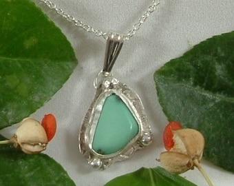 Variquoise Necklace Sterling Silver Handmade Utah Natural Gem Turquoise Variscite Sterling Silver Necklace Blue Green Black 782