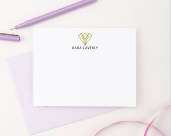 Diamond Personalized stationery, Personalized Engagement Gift For Her, Engagement Gift for Best friend, Engagement gift for bride, PS014