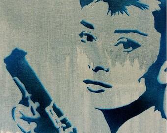 Audrey Hepburn Painting Breakfast at Tiffanys Portrait BLOODBATH at TIFFANYS 11x14 Artwork Graffiti Stencil Original Painting Pop Art Pinup