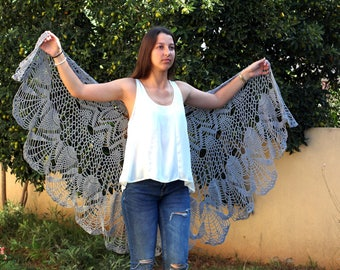 Gray Shawl Gray Wraps Shawl  Crochet Lace Shawl  lace knit shawl, knit shawl scarf  Wedding Shawl crochet shawl