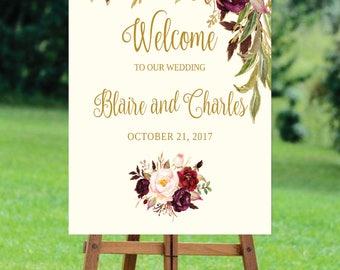 Welcome Wedding Sign Template / Editable Three Sizes 16x20, 18x24, 24x36 - Fall Floral - Gold / Cream / Burgundy / Marsala / Wine Rusti