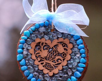 Valentines Heart ornament,Mosaic Valentine decoration,natural wood,rustic love birds,Blue birds,love birds,couples gift,Valentines Day idea