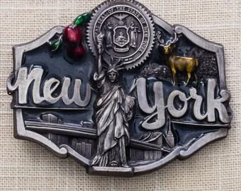 New York Enamel Belt Buckle Statue of Liberty 1987 Brooklyn Bridge Empire State Building Big Apple Pewter Tone Vintage Belt Buckle 7MM