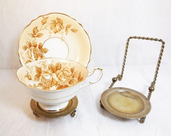 Pair of Vintage, Brass Plated Metal, Teacup and Saucer Display Stands