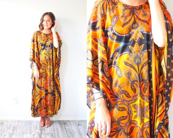Vintage orange boho moo moo dress // floral summer dress // maxi black orange dress // 70's dress // long maxi dress // modest summer dress