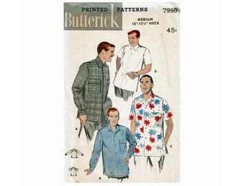 1950s Men's Sport Shirts Size Medium Chest 38-40 Neck 15-15 1/2 UNCUT Vintage Sewing Pattern Butterick 7998 Swing Rockabilly