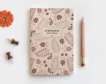 Fall Leaves Personalized Gratitude Journal & Pencil Set - Illustrated Autumn Brown Floral Recycled Notebook, 3 Sizes