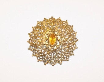 Solid Perfume Brooch Pendant Combo Filigree Topaz Focal Stone Gold Tone November Birthstone Victorian Edwardian Vintage Jewelry Jewellery