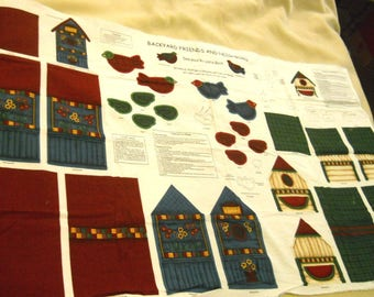 Backyard Friends And Neighbors - Sewing Fabric Panel Birds and Birdhouses