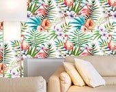 Flamingo and Tropical Flowers Wallpaper - Living Room Wall Art, Peel and Stick, Self-adhesive Wallpaper, Floral Wall Mural  prt0107