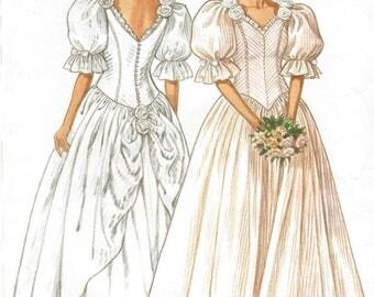 80s Womens Romantic Princess Wedding Dress New Look Sewing Pattern 6538 Size 6 8 10 12