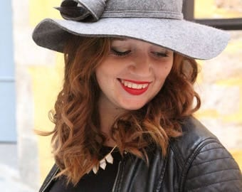 Wide brim hat. Floppy brim felt hat. Gray felt hat. Floppy wide brim felt hat. Womans felt hat. Winter felt hat. Elegant hat. Millinery hat.