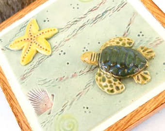 Ceramic Hatching  Green Sea Turtle Tile, 3-D Picture, USA Artisan Handmade Pottery Plaque, Honu Turtle Lover Gift, Beach Ocean Cottage Decor