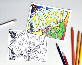 Coloring Postcard, TEXAS handdrawn postcard