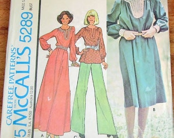 Vintage 1970s Sewing Pattern McCall's 5289 Boho Caftan Dress, Maxi Gown, Dress, Tunic Top, Womens Misses Size 14 Bust 36 Uncut Factory Folds