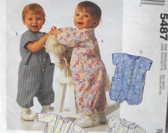 McCall's 5487, Infants Jumpsuit Onesie Pattern, All Sizes, Factory Folded Uncut, Vintage 1991, Sewing Pattern