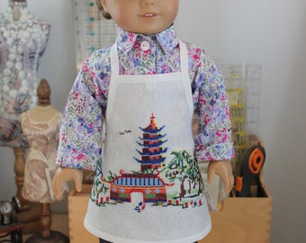 Apron Upcycled from Vintage Hand Embroidered Voile Tablecloth for 18 Inch Doll, AP145b