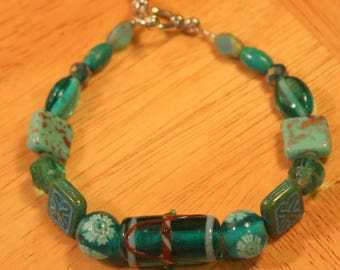 Seagrove Beach, Handmade Bracelet, 7.75 inches, with Lampwork and Czech Glass Beads, Toggle Clasp