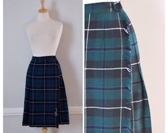 Vintage Skirt / Vintage 80s Skirt / Plaid Skirt / Kilt Skirt / Tartan Plaid Skirt / Midi Skirt / Wool Skirt / Green and Blue / Size Medium
